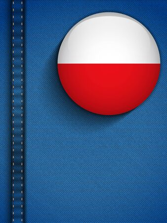 Vector - Poland Flag Button in Jeans Pocket Vector