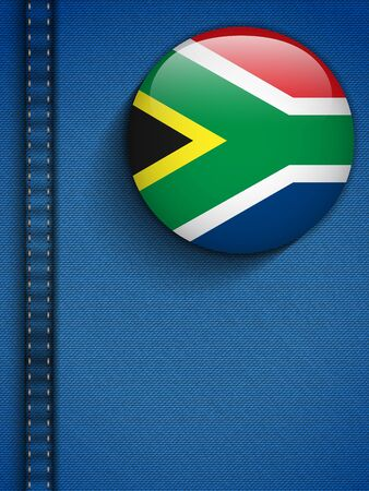 Vector - South Africa Flag Button in Jeans Pocket Vector