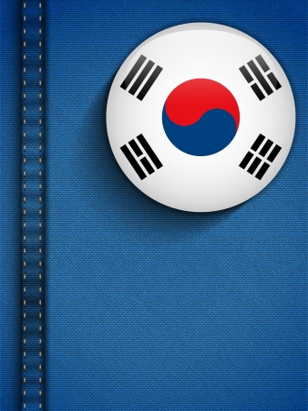 Vector - South Korea Flag Button in Jeans Pocket Vector