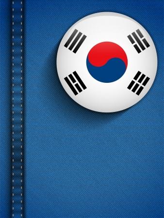 Vector - South Korea Flag Button in Jeans Pocket Stock Vector - 19976570
