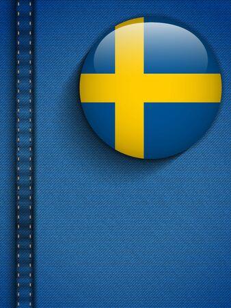 sweden flag: Vector - Sweden Flag Button in Jeans Pocket Illustration