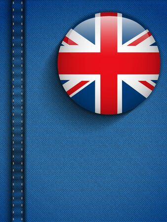 Vector - UK Flag Button in Jeans Pocket Vector