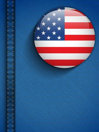 Vector - USA Flag Button in Jeans Pocket Vector
