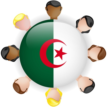Algeria Flag Button Teamwork People Group - Vector Vector