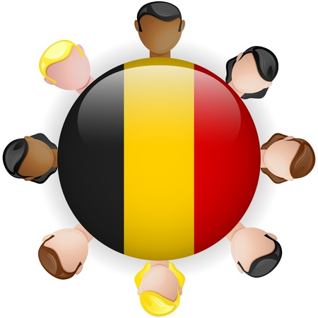 belgium flag: Belgium Flag Button Teamwork People Group - Vector Illustration