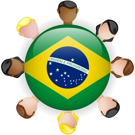 crowd sourcing: Brazil Flag Button Teamwork People Group - Vector Illustration