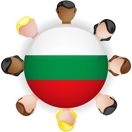 bulgaria: Bulgaria Flag Button Teamwork People Group - Vector