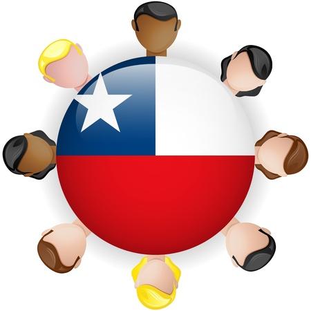 bandera de chile: Chile Flag Button Trabajo en equipo Grupo - Vector Vectores