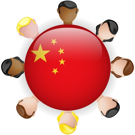 crowd sourcing: China Flag Button Teamwork People Group - Vector Illustration
