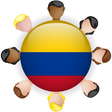 Colombia Flag Button Teamwork People Group - Vector Vector