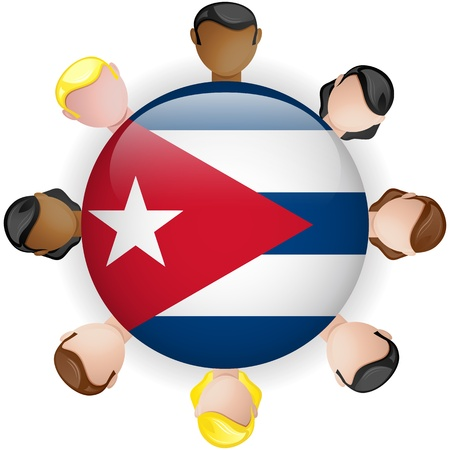 kuba flagge: Cuba Flag Button Teamwork People Group - Vector Illustration