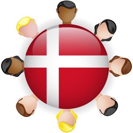 Denmark Flag Button Teamwork People Group - Vector Stock Vector - 20001939