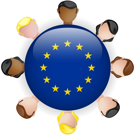 european community: Europe Flag Button Teamwork People Group - Vector