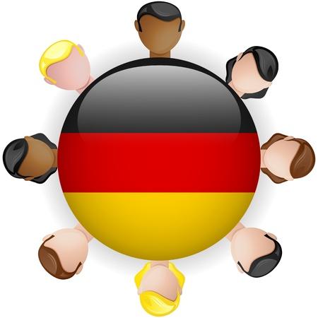 german flag: Germany Flag Button Teamwork People Group