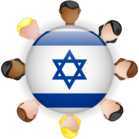 jewish symbols: Israel Flag Button Teamwork People Group - Vector