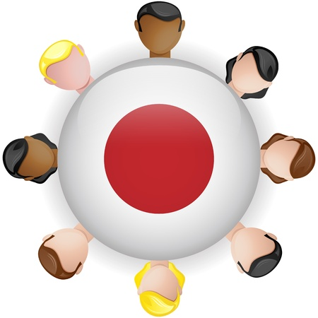 crowd sourcing: Japan Flag Button Teamwork People Group - Vector
