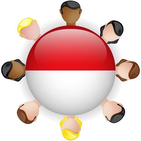 monegasque: Monaco Flag Button Teamwork People Group - Vector