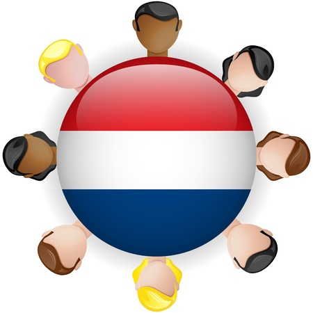 Netherlands Flag Button Teamwork People Group - Vector Stock Vector - 20007964
