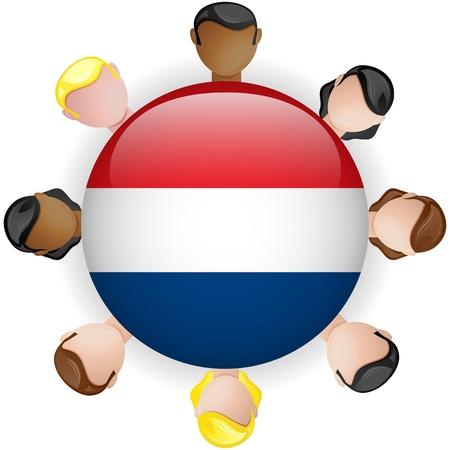 Netherlands Flag Button Teamwork People Group - Vector Stock Vector - 20007964