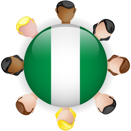 crowd sourcing: Nigeria Flag Button Teamwork People Group - Vector