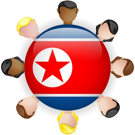 North Korea Flag Button Teamwork People Group - Vector Stock Vector - 20007995