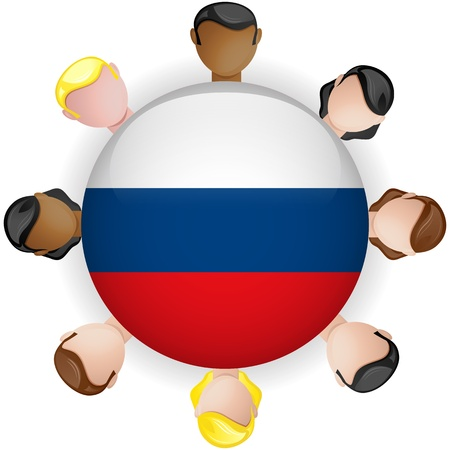 crowd sourcing: Russia Flag Button Teamwork People Group - Vector