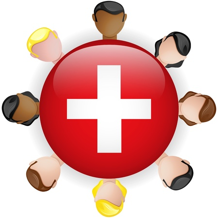 swiss insignia: Switzerland Flag Button Teamwork People Group - Vector Illustration
