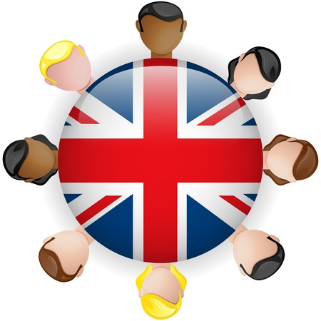 UK Flag Button Teamwork People Group - Vector Vector