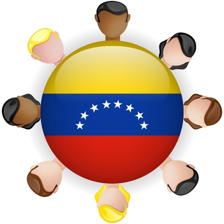 Venezuela Flag Button Teamwork People Group - Vector Vector