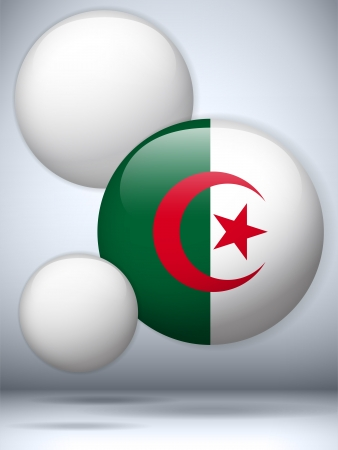 algeria: Vector - Algeria Flag Glossy Button Illustration