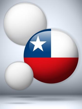 bandera chilena: Vector - Bot?n de la bandera de Chile Glossy