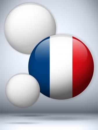flag of france: Vector - France Flag Glossy Button