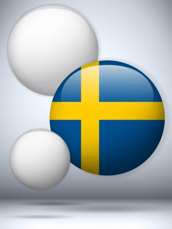 sweden flag: Vector - Sweden Flag Glossy Button Illustration