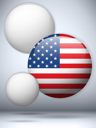 Vector - United States Flag Glossy Button Vector