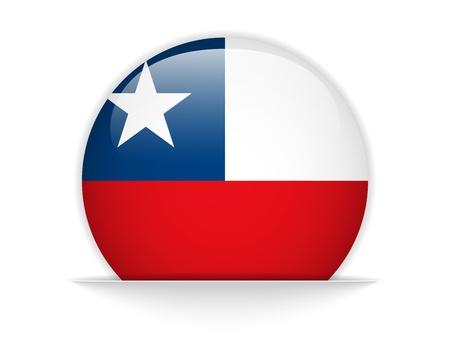 bandera de chile: Vector - Bot?n de la bandera de Chile Glossy