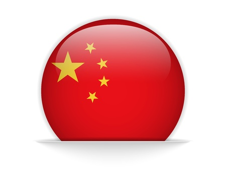 Vector - China Flag Glossy Button Vector