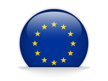 Vector - Europe Flag Glossy Button Vector