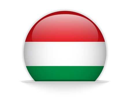 hungarian: Vector - Hungary Flag Glossy Button Illustration