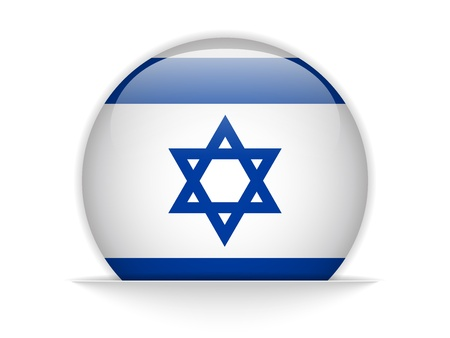 Vector - Israel Flag Glossy Button Vector
