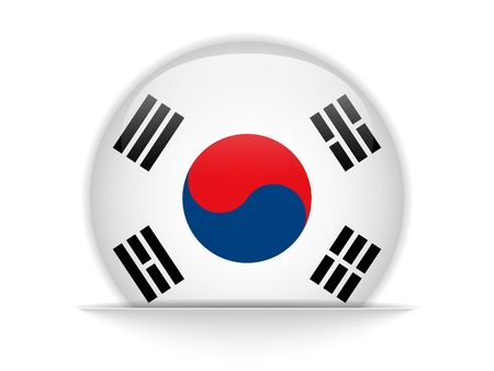 Vector - South Korea Flag Glossy Button Vector