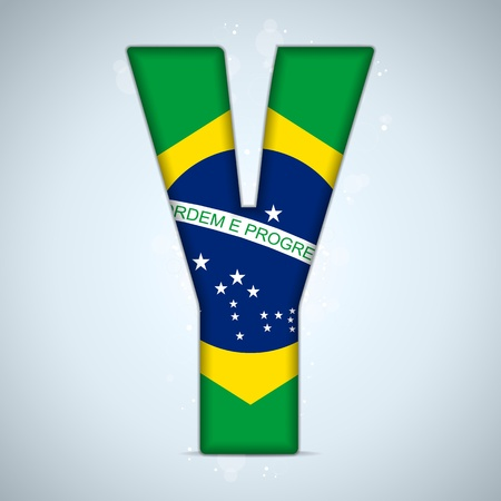 Brazil Flag Brazilian Alphabet Letters Words Vector
