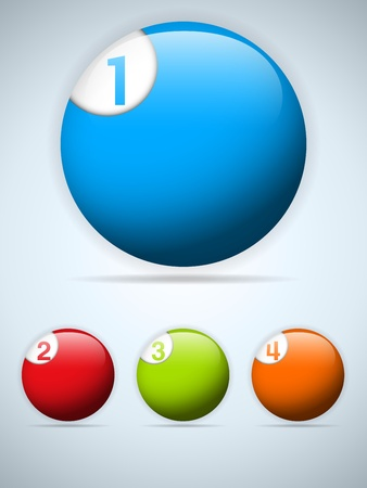 Set of Four Colorful Buttons  Icons Vector