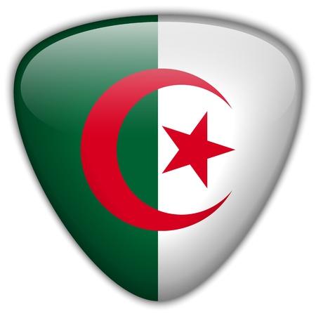 algerian flag: Algeria Flag Glossy Button Illustration