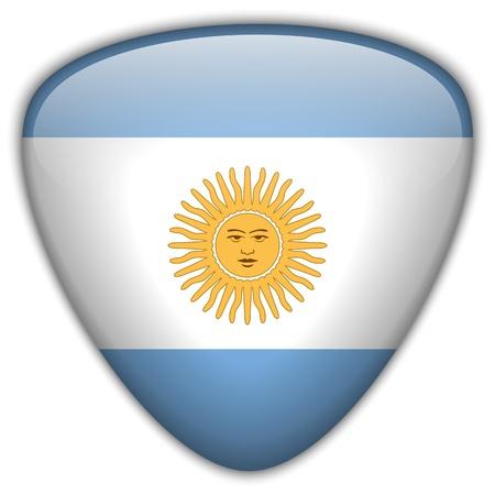 bandera argentina: Argentina Bandera brillante bot?n Vectores