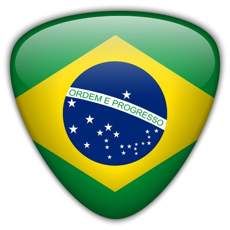 Brazil Flag Glossy Button Vector