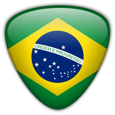 brazil flag: Brazil Flag Glossy Button Illustration