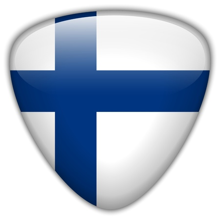 finland flag: Finland Flag Glossy Button