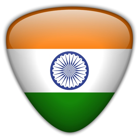 triangle flag: Indian Flag Glossy Button