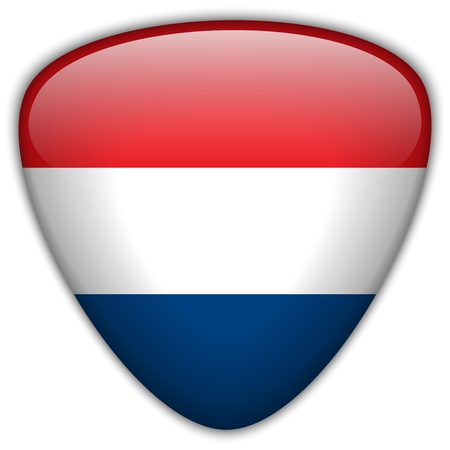 Netherlands Flag Glossy Button Vector