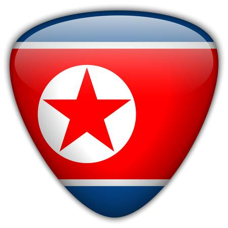 North Korea Flag Glossy Button Stock Vector - 21298858